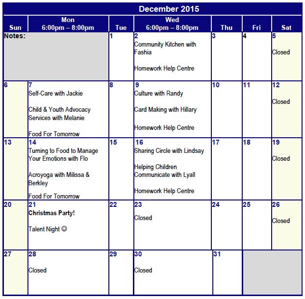 December Programming