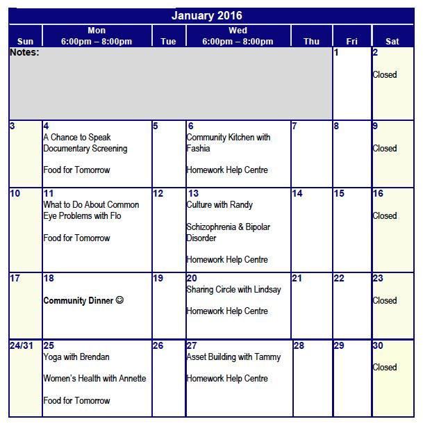January 2016 Programming