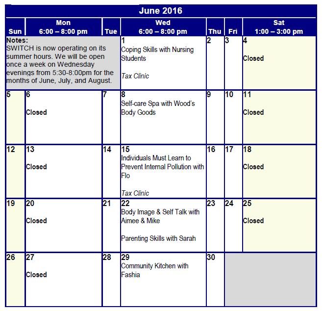 June Programming
